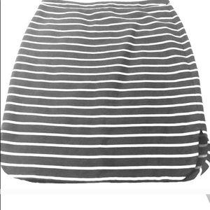 LOFT navy blue and white stripe skirt.